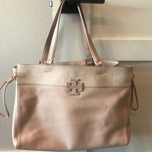 Tory Burch Stacked-T Mixed Material Tote